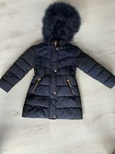 Girls Ted Baker Navy Blue Winter Coat, Age 7 Years