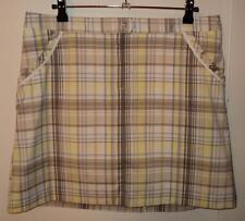 IZOD Beige/Yellow/Purple Plaid COOL FX Stretch GOLF Skort/Shorts (6) NEW