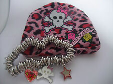 PINK COOKIE STRETCH 3 CHARM BRACELET & PURSE heart scull& crossbones star NEW