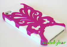 iPhone 5 5th Pink Butterfly Kiss/White Candy Skin Hybrid 2in1 Spring Cover Case