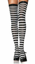 STRIPED SOCKS  BLACK/WHITE OVER THE KNEE SCHOOL GIRL PIRATE WITCH COSTUME
