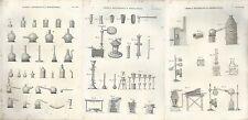 1849 CHIMICA DOCIMASTICA METALLURGIA serie di 3 acquaforti su rame Pomba Ed.