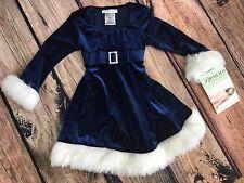 NWT Girls Bonnie Jean Blue Sparkly Velour Faux Fur Santa Dress Christmas 3T