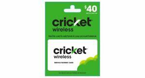 CRIKECT WIRELESS $40 REFILL CARD FOR PREPAID SERVICE FAST DIRECT REFILL