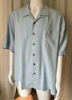 Jamaica Jaxx Bahama 100% SILK Hawaiian Camp Shirt Light Blue 2XL NWOT XXL palm