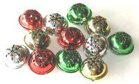 "Jingle Bells Sleigh Bells Red Green Silver Gold Ringing Large 1 3/4"" Metal"