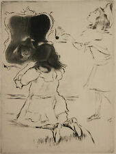 LOUIS LEGRAND-French Impressionist-Hand Signed LIM.ED. Etching-Elite Young Girls