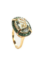NEW RARITIES Gold Vermeil Prasiolite East West Oval Cocktail Ring Sz 8