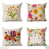 Flowers Linen Square Throw Waist Pillow Case Decorative Cushion Pillow Cover
