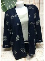 Kathie Lee Oriental Kimono Blouse Top Womens XL 16 Blue 3/4 Sleeve Vintage
