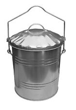 Large Galvanised Metal Ash Bin Steel Lidded Bucket Coal Fire Carrier + SHOVEL