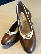 Womens Ladies 10.5B Salvatore Ferragamo tan leather work pumps 3cm heel BNIB