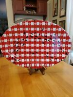 """BW Boston Warehouse Trading Corp 16""""×11"""" Platter Red Checks with Ants EUC"""