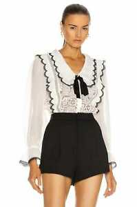 2020 New NWT Self Portrait White Cord Lace Bow Collar Shirt Top