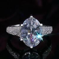 Elegant Women Rings 925 Silver Rings Oval Cut White Sapphire Wedding Ring Gift