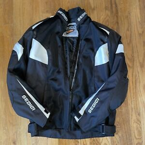 Sedici  Motorcycle Racing Jacket Black Padded Zip Up Womens Size Large Coat