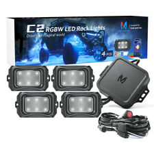 New listing  Mictuning C2 Rgbw Led Rock Light 4 Pods Curved Offroad Lamp Bluetooth Music Mode