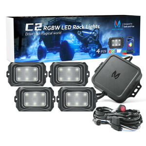 MICTUNING C2 RGBW LED Rock Light 4 Pods Curved Offroad Lamp Bluetooth Music Mode