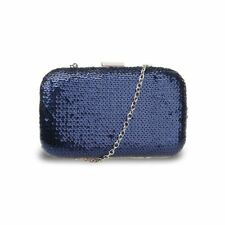 6075e3b473a877 Sequin Women Evening Clutch Hardcase Boxy Bag Long Strap Prom Party Holyday  Lady Cdb001nb-navy