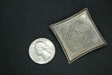Indo Persian Mughal Isfahan Tribal Silver Engraved Antique Pin Brooch Pillow