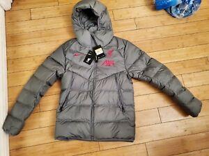 Nike Liverpool FC Soccer AXA Gray Bubble Puffer Jacket DA6665-087 - Men's Small