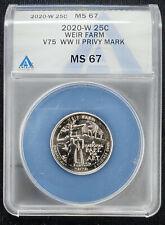 2020 W Weir Farm Quarter 25c V75 WWII Privy Mark ANACS MS67