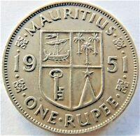 1951 MAURITIUS George VI, One Rupee grading VERY FINE.