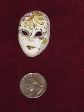"VENETIAN MASK Pin Brooch Painted Plaster 2.5""W  2""H  Sturdy Clasp Venice Italy"
