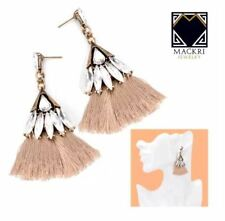 MACKRI Fan Shape Diamond Long Tassel Hook Drop Earrings BROWN
