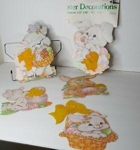 Lot of 5 Vtg 1982 Peck Flocked Cardboard Easter Bunny Chicks Eggs Decorations