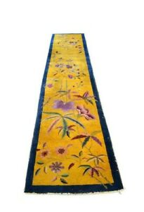 Antique Art Deco Saffron Chinese Rug, The Golden Dynasty   3 x 11'