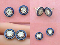 Vintage & Antique Sapphire Stud Earrings 14K White Gold 3.5 Ct Round Cut Diamond
