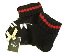 Ralph Lauren Ladies GRIPPER Slipper Socks Knit Snowflake Booties Black - NEW