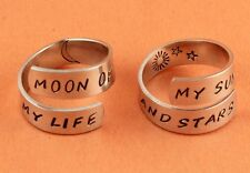 Moon of My Life My Sun and Stars Ring Set Couples Rings Adjustable Aluminum