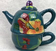 TRACY PORTER Blossom Collection TEAPOT FOR ONE 3 Piece Combo TPI 14oz Pot CUP