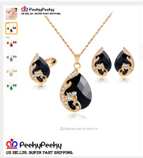 Gold Plated 5 Color Necklace Earrings Ring Pendant Necklace Jewelry Wedding Set