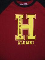 XL burgundy red and black HARRY POTTER ringer t-shirt - HOGWARTS ALUMNI