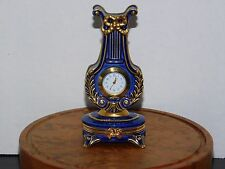 "Franklin Mint Miniature Louis VX Lyre Quartz Clock, Gold Accent, 4"" Tall"