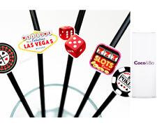 10 x Coco&Bo - Fabulous Las Vegas Party Straws - Casino Night Poker Decorations