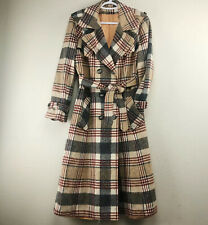 Vintage Women's Sze Medium Brown Plaid Belted Double Breasted Trench Wool Coat