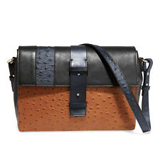 IRIS & INK BLACK & BROWN CALF LEATHER MESSENGER BAG