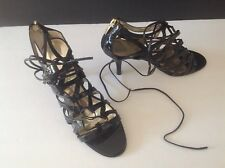 Enzo Angiolini Strappy Black PATENT Leather laced High Heel Sandal Shoes 6.5m