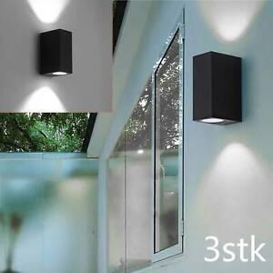 3-er Set LED Außen Leuchten Fassaden Up Down Lampen Haus Tür Alu Wand Strahler