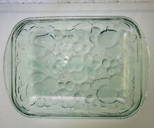 Vintage Libbey Baking Cooking Dish Green Glass Orchard Fruit Pattern Oven Proof