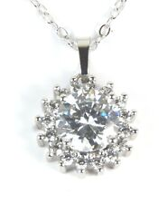 Women's White Gold plated Clear Crystal necklace