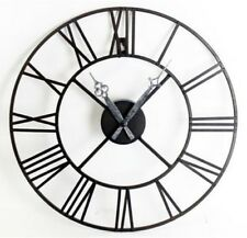 Large Black Skeleton Metal Wall Clock Urban Chic French Vintage Industrial 40 cm