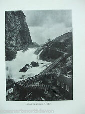 ANTIQUE PRINT C1904 FLY FISHING RUKANFOS FALLS COLLOONEY PASS IRELAND FISHING