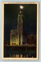 Columbus OH, Le Veque-Lincoln Tower, Night View, Linen Ohio Postcard X2