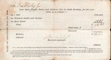 Vintage 1866 Hand Signed Tax Receipt - Reading Massachusetts