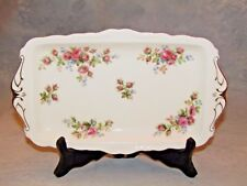 "GORGEOUS 12"" ROYAL ALBERT SANDWICH TRAY- HARD TO FIND PATTERN-MOSS ROSE"